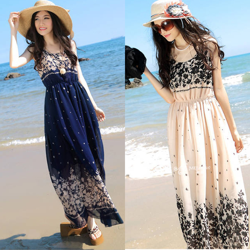 2015 new arrival fashion summer chiffon dresses Holiday beach dress ...