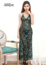 Millyn Ideas Lace Embroidery sexy Peacock green Sleepwear Dress V-neck Backless long dressing gown Strappy lace lingerie
