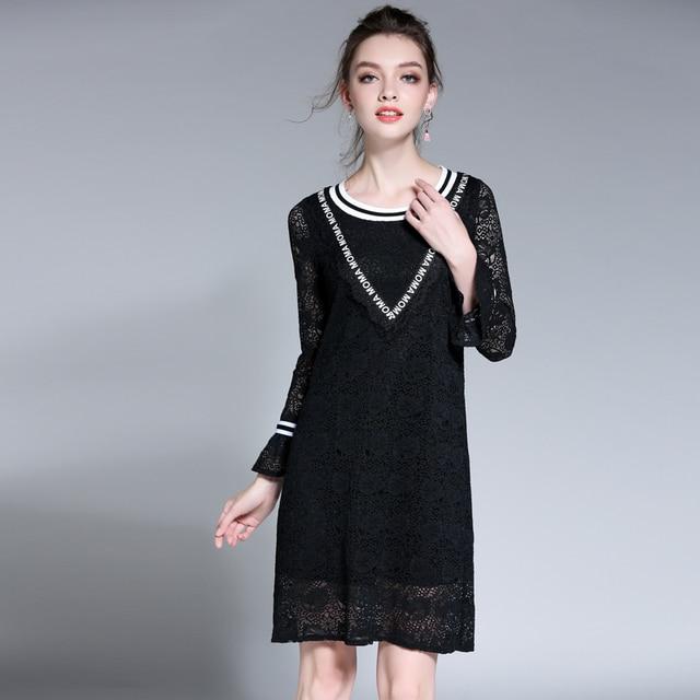 L 5xl female autumn oversized dress 2017 new woman black full sleeve ...