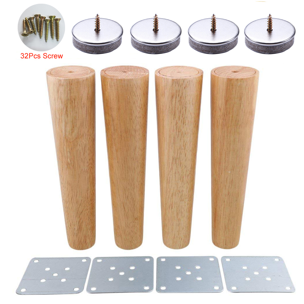 4 Piece 25cm Height Oak Wood Reliable Wood Furniture Leg Cone Shaped Wooden Feets for Cabinets