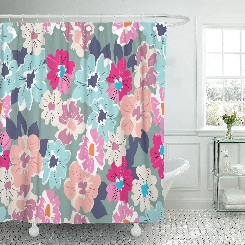 Fabric Shower Curtain With Hooks Pink Flower Cute Modern Floral Blue Ditsy Aqua Coral Mod Beauty Bouquet Dots Shower Curtains Aliexpress