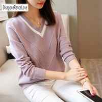 DRL Autumn Winter Female Pullovers V Neck 2019 New Casual Long Sleeve Fashion Sweet Loose Sweater For Women Warm Knitted Jumper