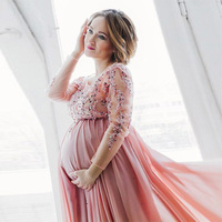 Peach Pink Long Sleeve Evening Dress For Pregnant 2017 Plus Size Maternity Women Prom Gown Robe