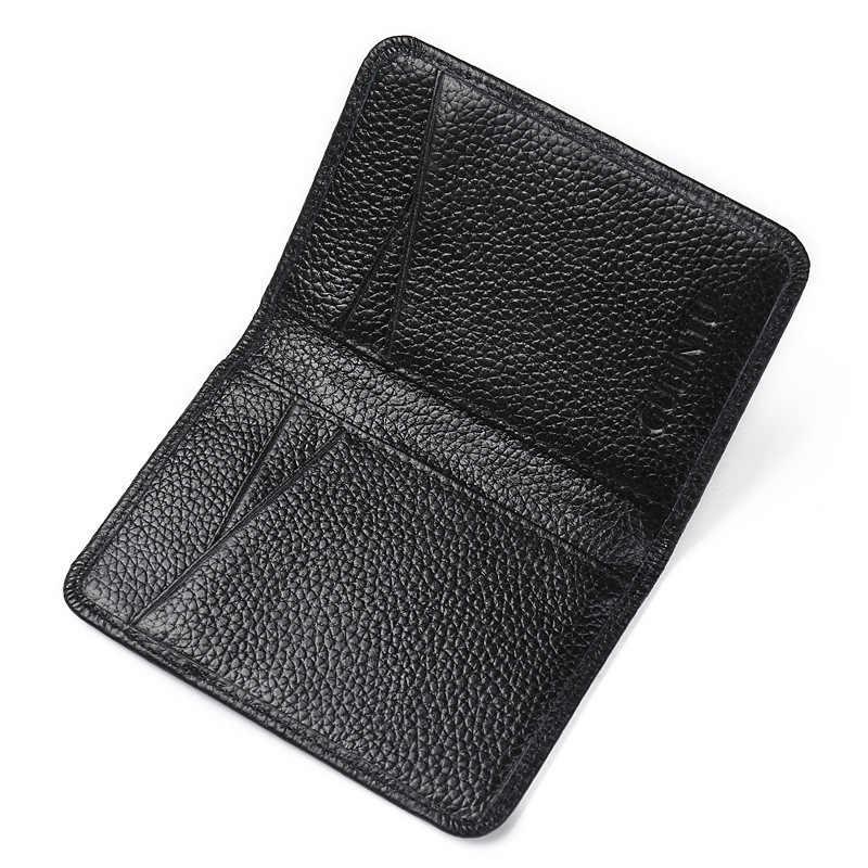 Dompet Pria Kulit Asli Pemegang Kartu Kredit RFID Memblokir Kartu Kredit Mini Dompet Dompet Kartu Pemegang