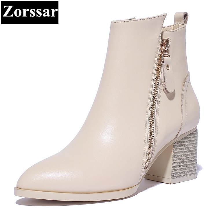 {Zorssar} 2018 winter New Genuine Leather Fashion Women Knight Boots High heels platform ankle boots pointed Toe female shoes enmayer high quality new pointed toe spike heels ankle boots winter platform boots for women leather motorcycle boots