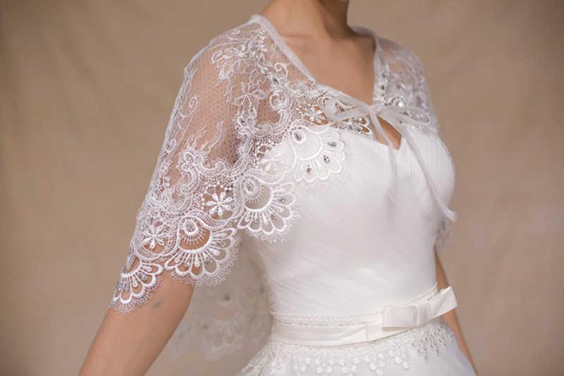 Мода 2019 Лето Свадебная накидка s Болеро Кристаллы Кружева Цветочная отделка женские вечерние Болеро Короткая Свадебная накидка шали с лентами
