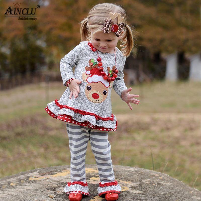Ainclu New Year Christmas Moose Costumes for Kids Girls Long Sleeve Elk Top + Stripe Pants Set Cute Sleepwear Two piece Suits