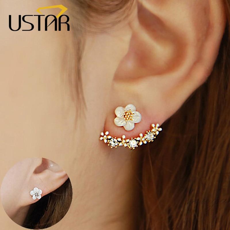 USTAR פרח קריסטלים עגילי סטאד לנשים זהב רוז צבע זהב כפול צדדי אופנה תכשיטים עגילים נקבה אוזן brincos בהמתנה