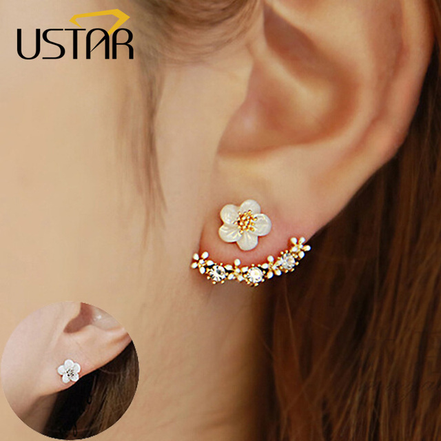 Ustar Flower Crystals Stud Earrings For Women Rose Gold Color Double Sided Fashion Jewelry Female