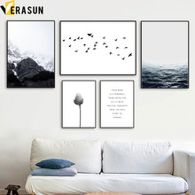 Snow Mountain Sea Flower Bird Quote Wall Art Canvas Painting Nordic Posters And Prints Pictures For Living Room Home Decor