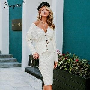 Image 3 - Simplee נשים סרוג סוודר שמלה אלגנטית סתיו חורף שתי חתיכות חצאית חליפת לבן ארוך שרוול נקבה קרדיגן midi שמלות