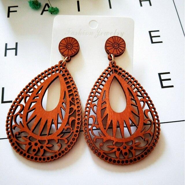 67ce717caa1323 Wooden Earrings Laser Cut Teardrop Earring Brown Wood jewelry Choose Your  Own Design