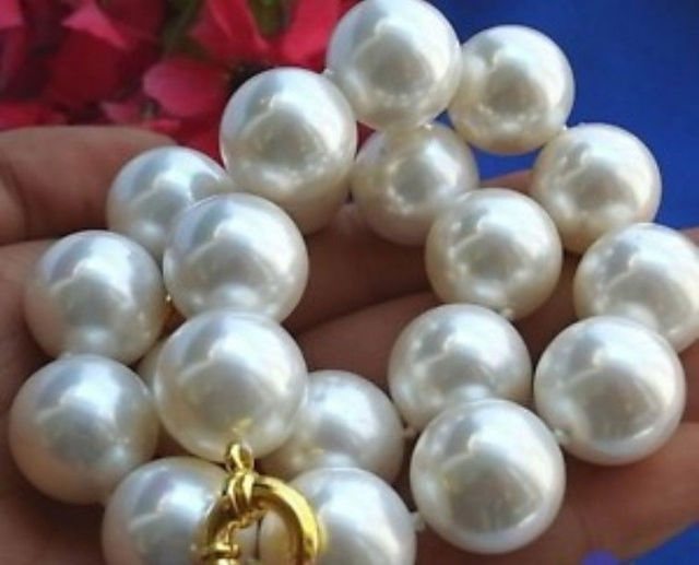Rare Huge 20mm south sea White Shell Pearl Necklace 18'' >Dongguan girl jewerly Store free shipping