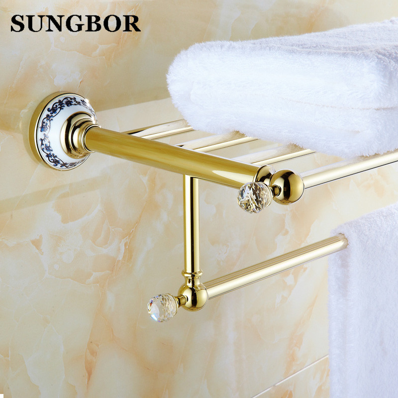 Luxury Towel shelf golden brass Bathroom towel rack holder High Quality Golden Finish Bath Towel Shelves Towel Bar bath shelf meifuju new arrival towel racks luxury bathroom accessories high quality golden finish bath towel shelf towel bar bath hardware