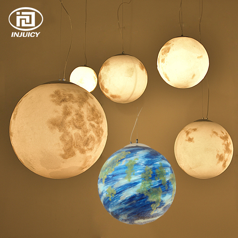 European style Resin Earth Moon LED Pendant Lights Hand Painted Universe Planet Colourful Pendant Lamp For Coffee Bar Hotel
