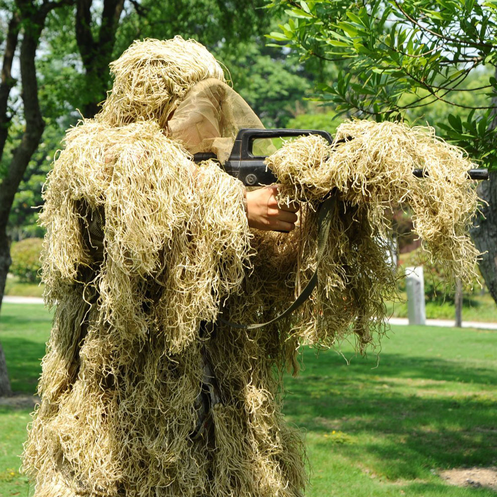 Field Dry Grass Ghost Tactical Ghillie Suit Sniper Hunting Paintball Wargame CS Ghilly Suit Set Includes 1 Free Ghillie Wrap airsoft adults cs field game skeleton warrior skull paintball mask