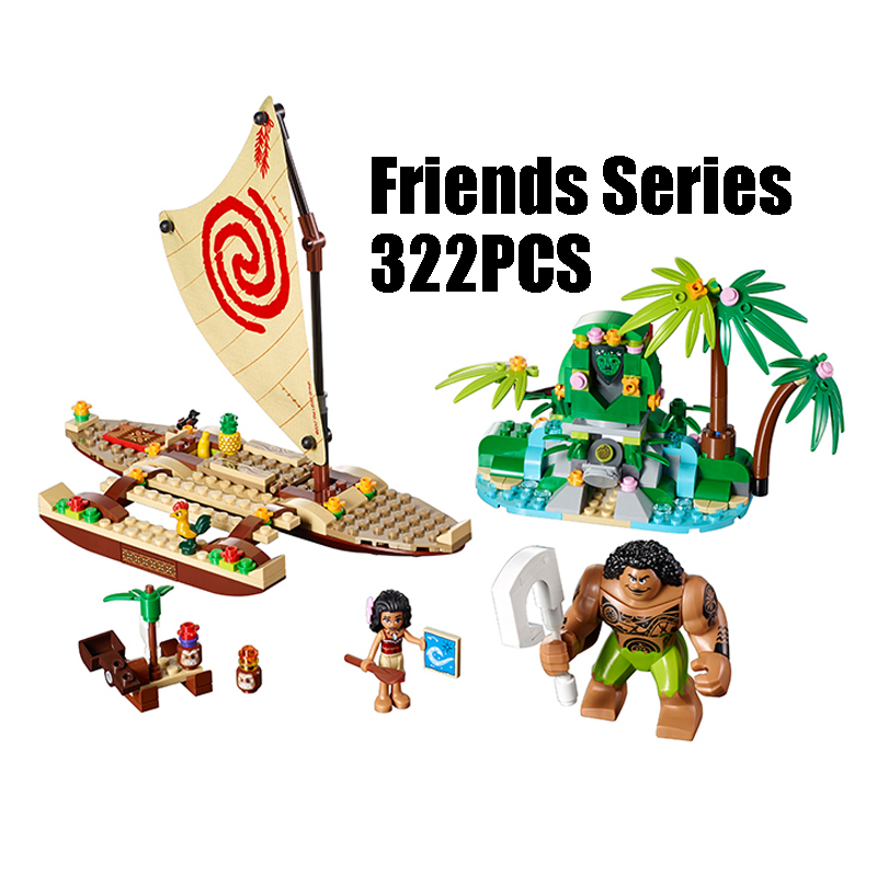 WAZ Compatible with Lego Friends 41150 25003 322pcs building blocks Moana's Ocean Voyage Bricks figure toys for children lepin 02012 city deepwater exploration vessel 60095 building blocks policeman toys children compatible with lego gift kid sets