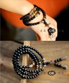 6mm Natural crystal obsidian yellow tiger eye pseudocrocidolite 108 tibetan silver beads bracelet lucky evil spirits