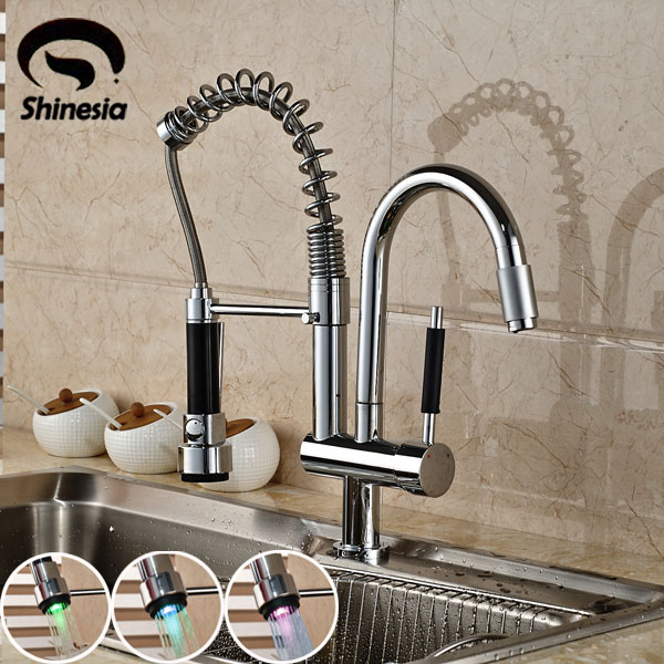 Wholesale and Retail LED Light Swivel Spout Spring Kitchen Sink Faucet Hot and Cold Pull Out Kitchen Faucet good quality wholesale and retail chrome finished pull out spring kitchen faucet swivel spout vessel sink mixer tap lk 9907