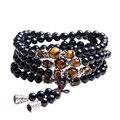 Черный Цвет Тигровый Глаз Кристалл Тибет Буддийский Будда Медитация 108 Молитва Шарик Мала Браслет/Ожерелье