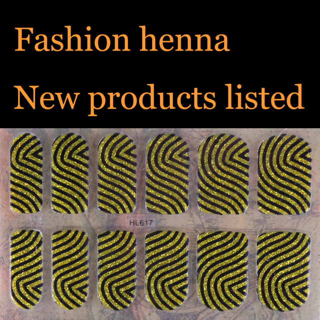 Flash Gold Powder Zebra Henna Nail Art Water Transfer Stickers Mixed