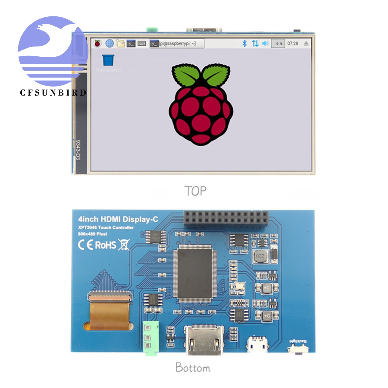 "Image 2 - 4.0"" Inch HDMI IPS LCD Monitor Screen Module Display with GPIO Resistive Touch Panel Audio Output for Raspberry Pi 4LCD Modules   -"