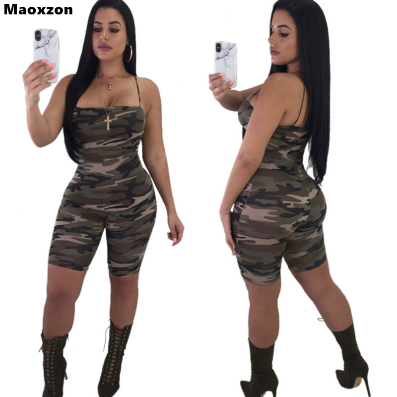 Maoxzon Camouflage Sexy Club Strap Short Rompers Womens Jumpsuits Print Summer Sleeveless Backless Skinny Shorts Playsuits Woman