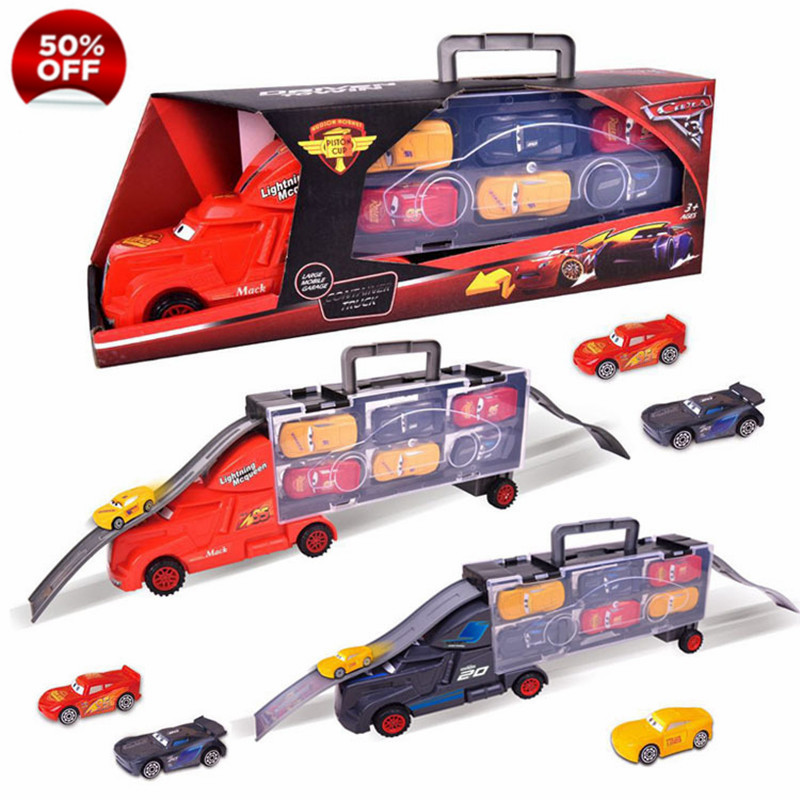 7Pcs Disney Pixar Cars 3 Lightning McQueen Jackson Storm Mack Uncle Truck 1:55 Diecast ABS Model Birthday Gift Toy For Boy Kid