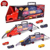 7Pcs Disney Pixar Cars 3 Lightning McQueen Jackson Storm Mack Uncle Truck 1:55 Diecast ABS Model Birthday Gift Toy For Boy Kid