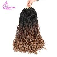 Изысканный волос богиня Locs вьющиеся крючком волос 18 дюймов длинные Kanekalon искусственная Locs вязанная косами Dreadlock волос