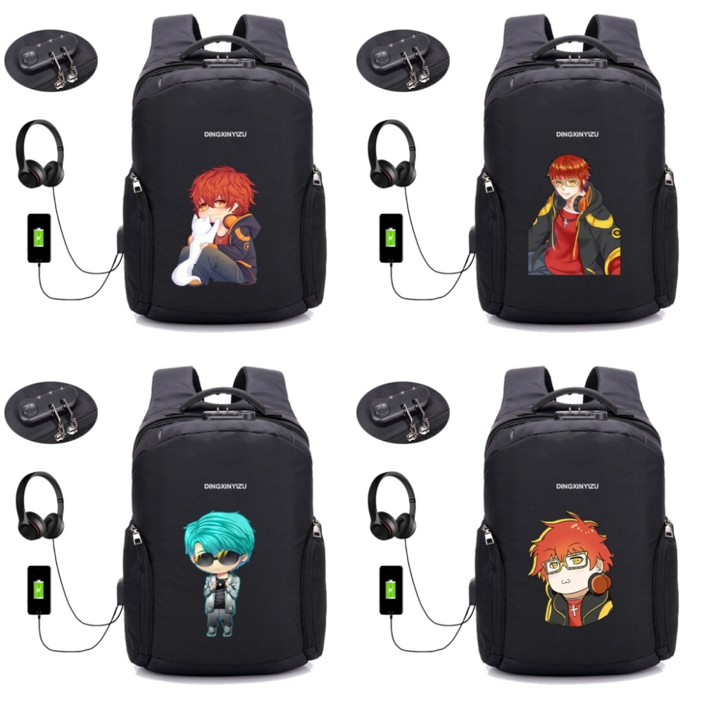 anime Mystic Messenger backpack USB charging 15inch Anti Theft Laptop Backpack student book bag Teenager Travel backpack 8 style new anime one piece skull monkey d luffy backpack bag anti theft school rucksack student book bag cosplay for 14 inch laptop