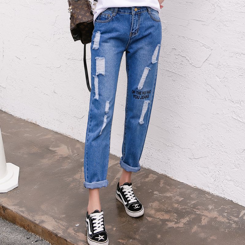 Women New Style Appliques Casual washed baggy Pants Hole Trousers Ladies Blue Ripped High Waist Denim long Length Jeans Loose autumn new fashion cotton jeans women loose low waist washed vintage big hole ripped long denim pencil pants casual girl pants