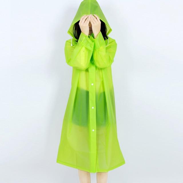 EVA Environment Safety Raincoat With Hood For Men And Women Outdoor Rainwear Waterproof Poncho Over Knee Length Rain Coat