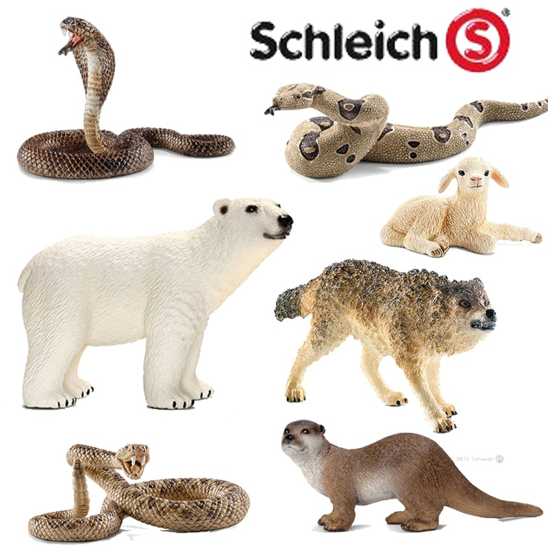 Classic Animal Model Howling wolf Little lamb Polar bear Otter Cobra Python Classic Simulated animal Children's Toys polar marine animal model toy penguin reindeer polar bear blue whale walrus sea l toy model sets pvc figure