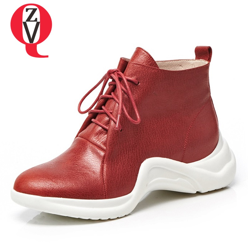 ZVQ woman shoes 2018 fashion lace-up booties genuine leather platform shoes ladies red and white casual date shoes size 33-42 цена