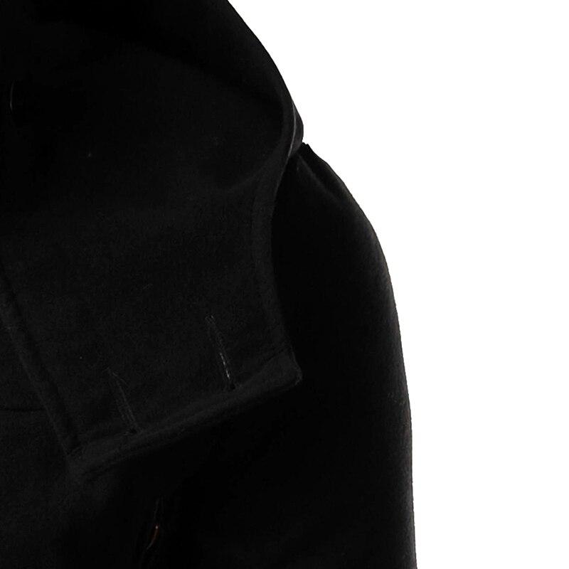 New 2018 Autumn/Winter Horn Button Hooded Jacket Men Slim Woolen Coat Male Trench Coat Good Quality Windbreaker M-2XL 14HZ01