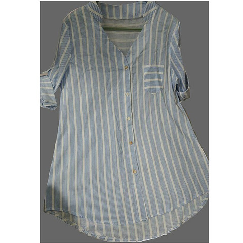 New Womens Summer Striped V Neck Blouses Loose Baggy Tops Cotton and Linen Button Down Tunic Shirts Plus Size Multan