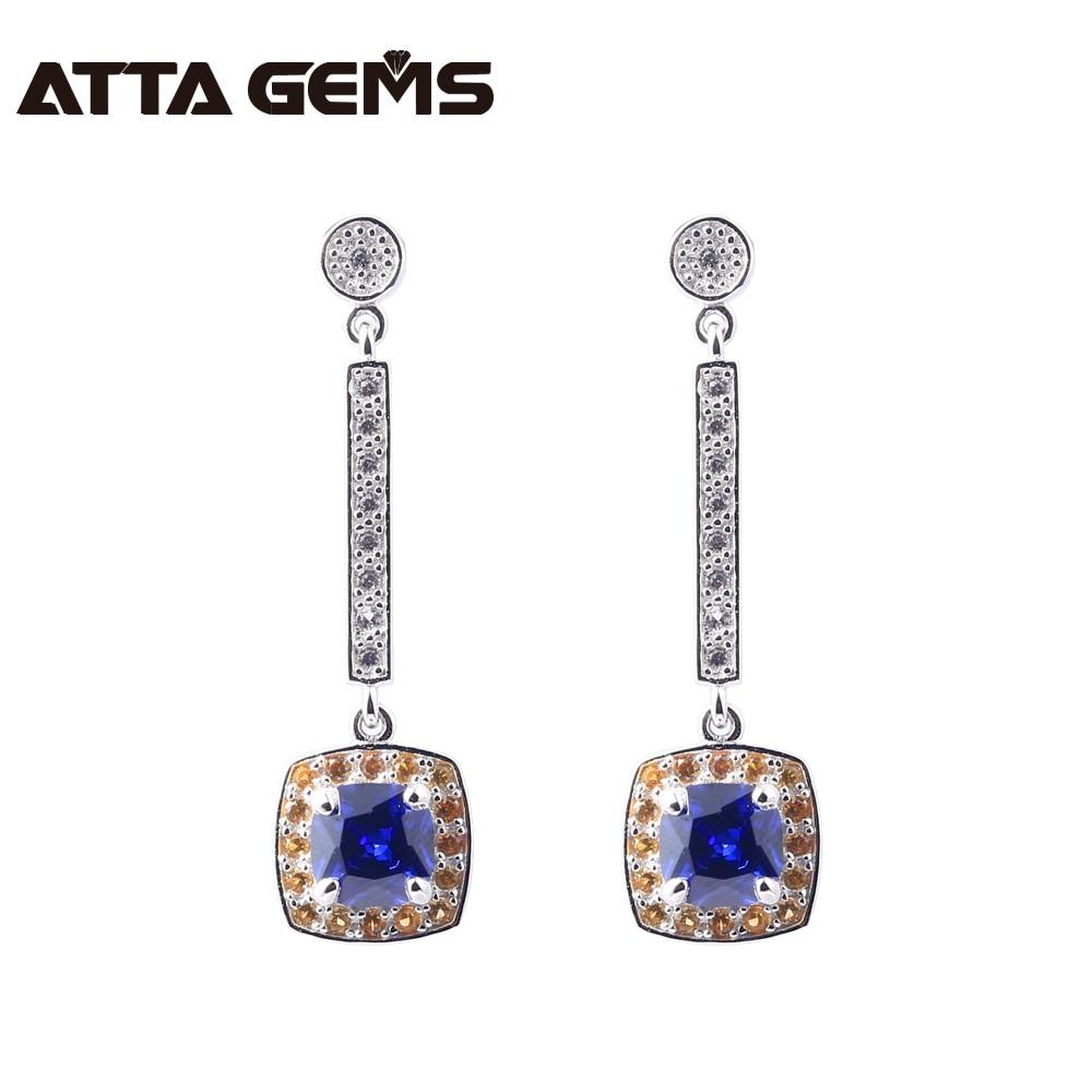 Tanzanite Sterling Silver Drop Earrings Women Wedding Silver Jewelry Birthday Gifts 1.6 Carats Created Tanzanite Fine Jewelry