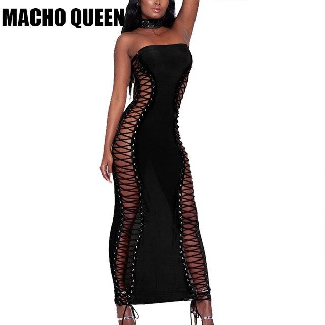 01a32aa2e3b Été femmes Sexy lacé Up Maxi robe noir gothique vêtements Tube longue robe  célébrité robes de