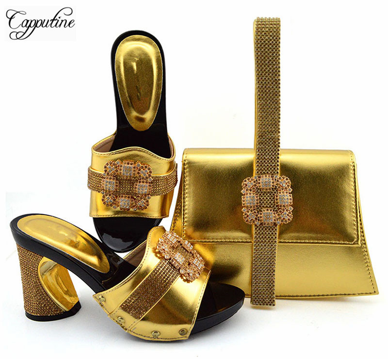 Most fashion gold high heel evening party shoes and purse handbag set with stones GFN1901,heel height 9cm Most fashion gold high heel evening party shoes and purse handbag set with stones GFN1901,heel height 9cm