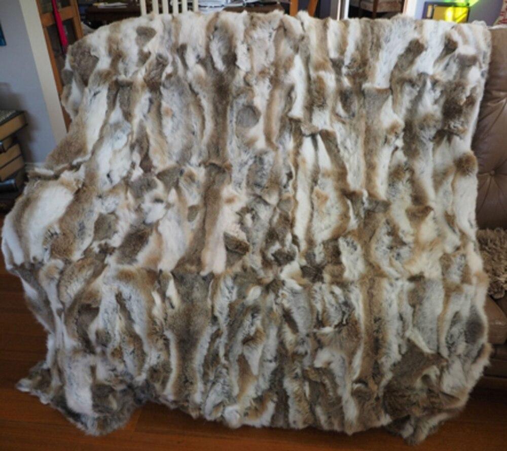 Véritable Patchwork naturel couverture de fourrure de lapin tapis de fourrure de lapin couvertures décoratives Tapetes para sala tapis et tapis pour salon