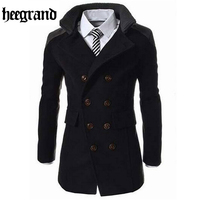 HEE GRAND Fashion Male Autumn Winter Coat Turn down Collar Wool Blend Men Overcoat MWN113