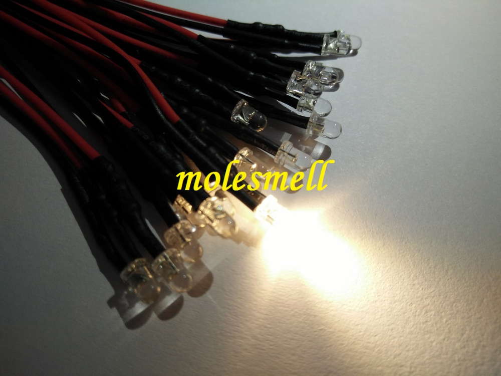 25pcs 3mm 12v Warm White Water Clear Round LED Lamp Light Set Pre-Wired 3mm 12V DC Wired
