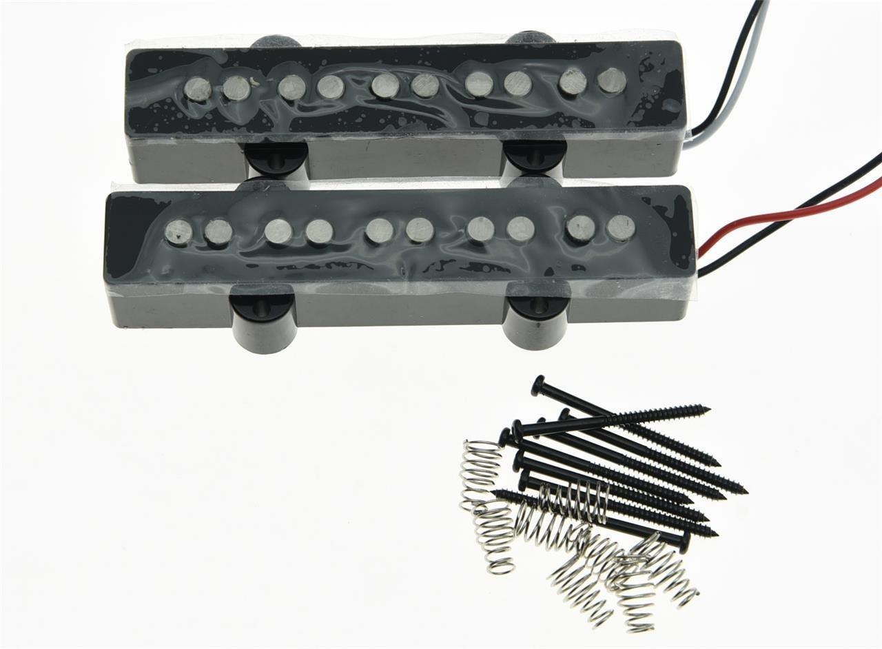 High quality Black 5 String J Bass Alnico 5 Pickups Set 60's Vintage Sound Jazz Bass Pickup black closed j bass neck bridge pickup bass pickups set for 4 string jazz bass