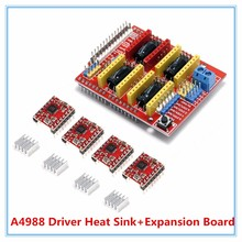 Hot 4 x A4988 Stepper Motor Driver with Heat Sink + CNC Shield Expansion Board for Arduino V3 Engraver Diy Kit Free Shipping 1set cnc shield v3 engraving machine 3d printer uno r3 board 4 x drv8825 driver kit for arduino 3d printer expansion board