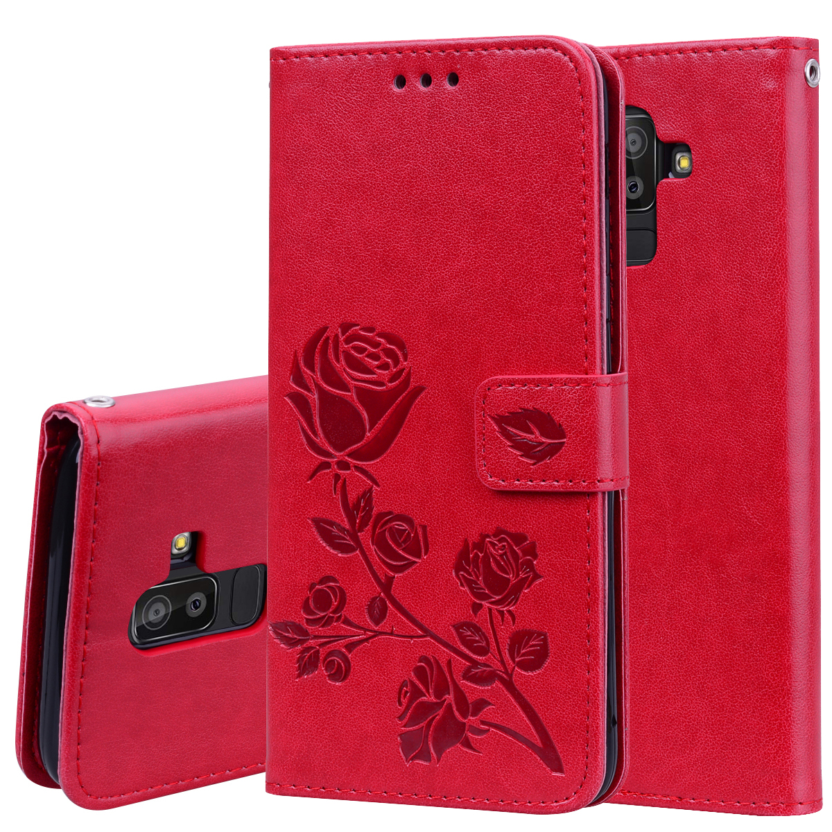 Rose Leather Book Case For Samsung J2 Pro J4 J6 J8 Plus 2018 Soft Silicone Back Cover For Samsung A6 A8 Plus A7 A9 2018 Wallet