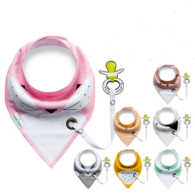 Multi-function Cotton bibs with Pacifier Unique Cartoon Triangle Cotton Towel Baby Bib Slobber Double Children's Accessories