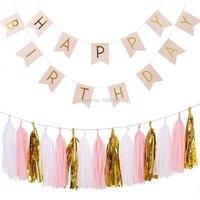 Màu hồng Hạnh Phúc Sinh Nhật Cờ Biểu Ngữ Vòng Hoa bằng Vàng Chữ Cái, hồng/Trắng/Foil Vàng Giấy Tissue Tasset Vòng Hoa cho Trang Trí