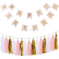 Pink Happy Birthday Flag Banner Garland With Gold Letters Pink White Foil Gold Tissue Paper Tasset