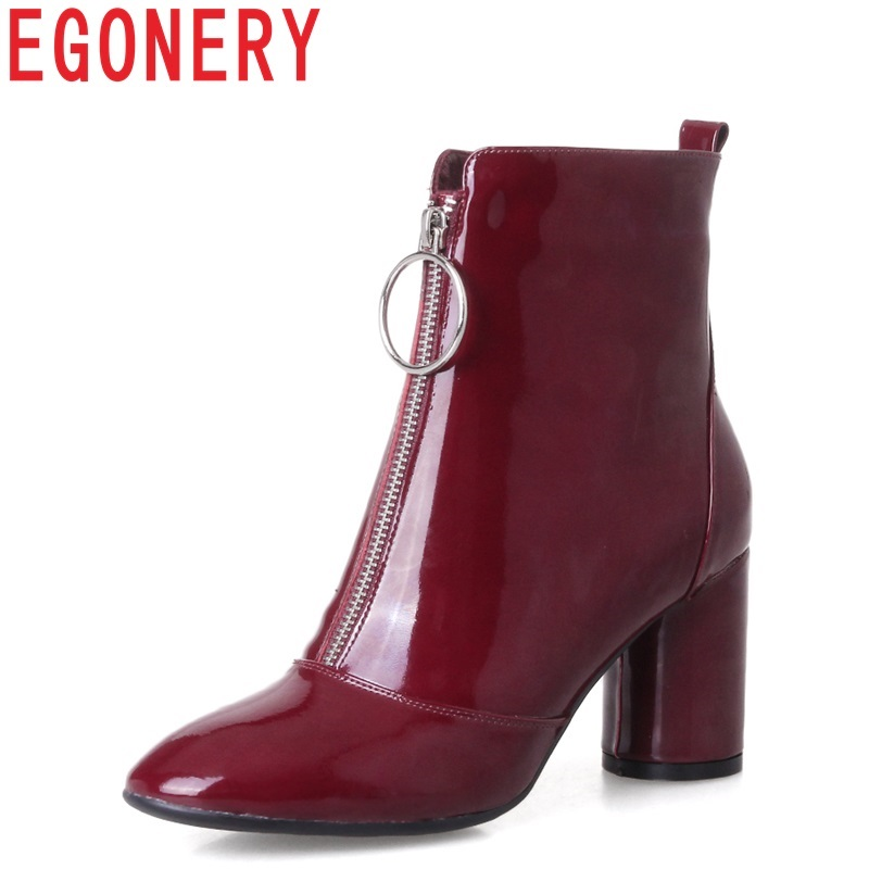 EGONERY high quality Chelsea Ankle boots woman patent leather 7 5cm high heel booties strange style